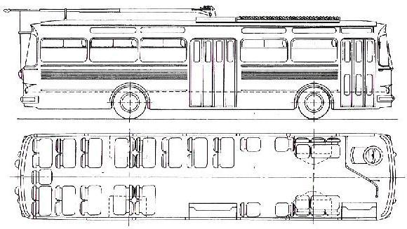 Nákres linkového trolejbusu T11