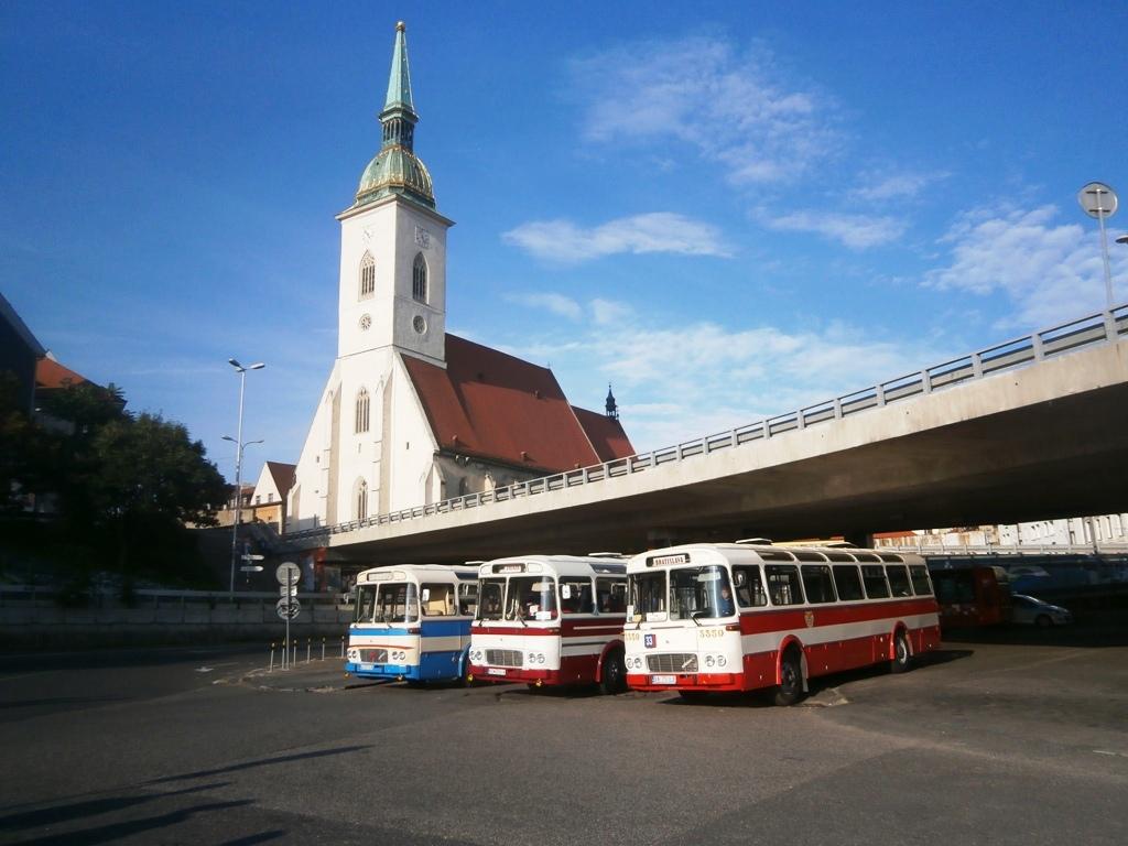 Autobusy ŠX póziu pred objektívmi fotografov