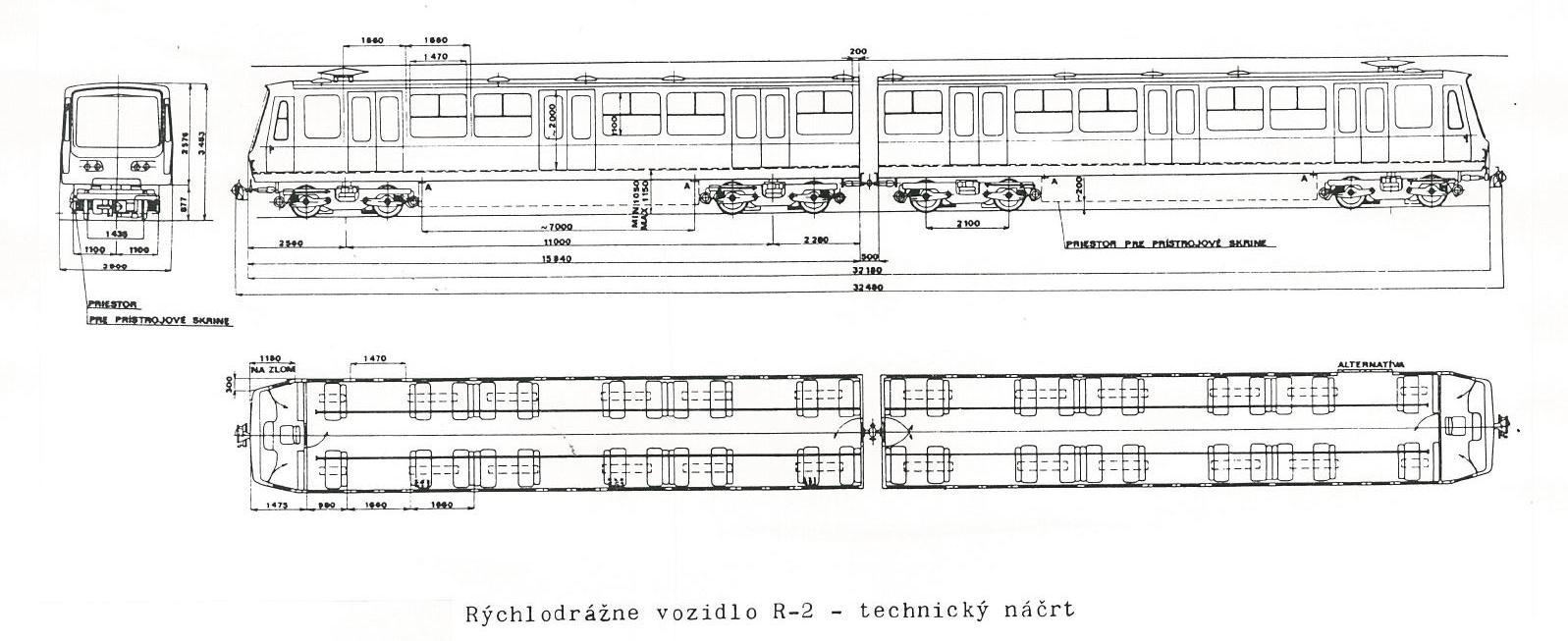 CKD TATRA R 2 - technický náčrt
