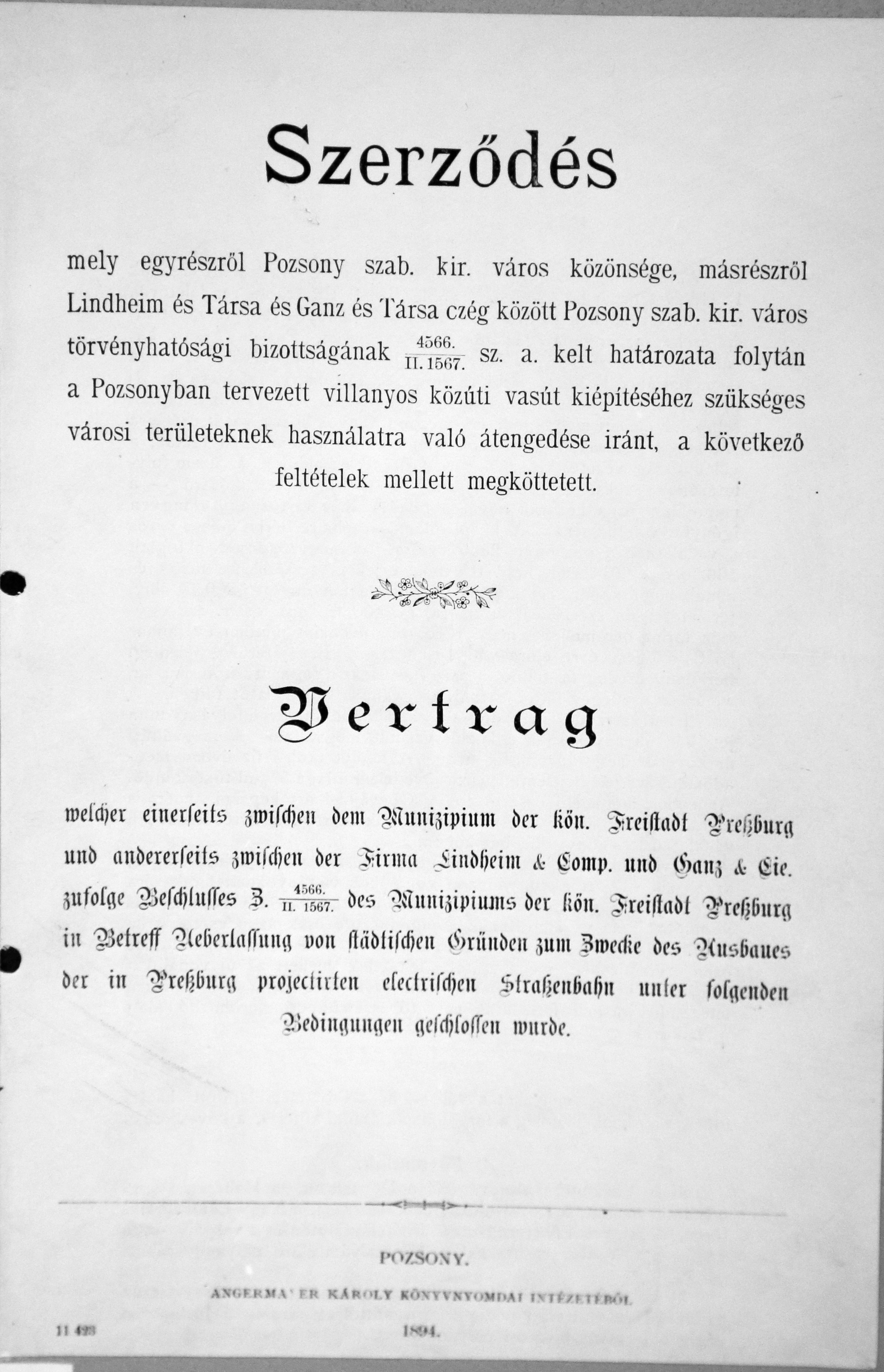 Titulná strana zmluvy medzi Municipálnym kráľovským mestom Prešporok a a spoločnosťou LINDHEIM a GANZ