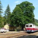 Cestný a železničný veterán pózujú na malebnej staničke Brezová pod Bradlom