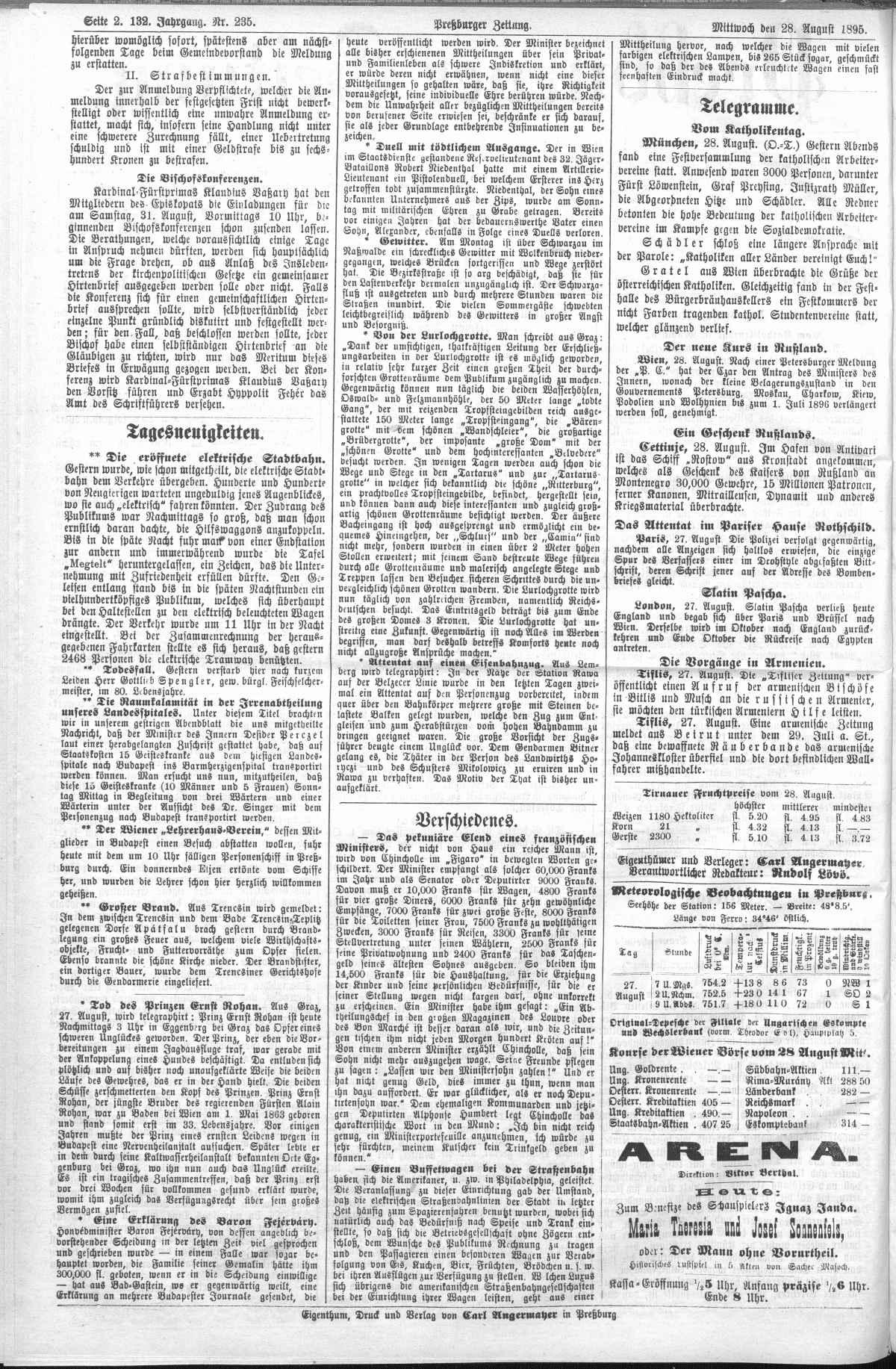 Článok v Presburrge Zeitung z 28 augusta 1895