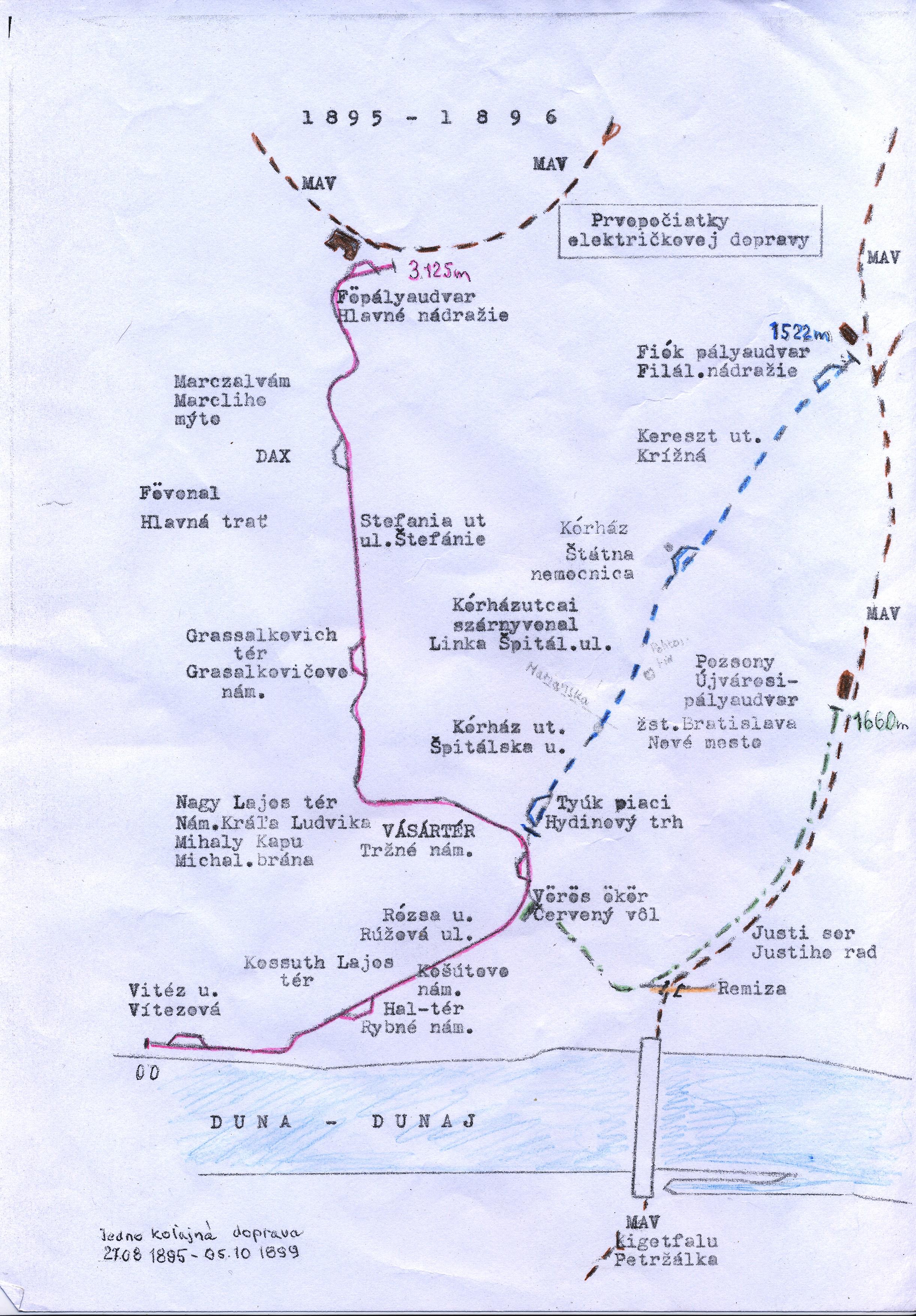 Schéma prvých tratí