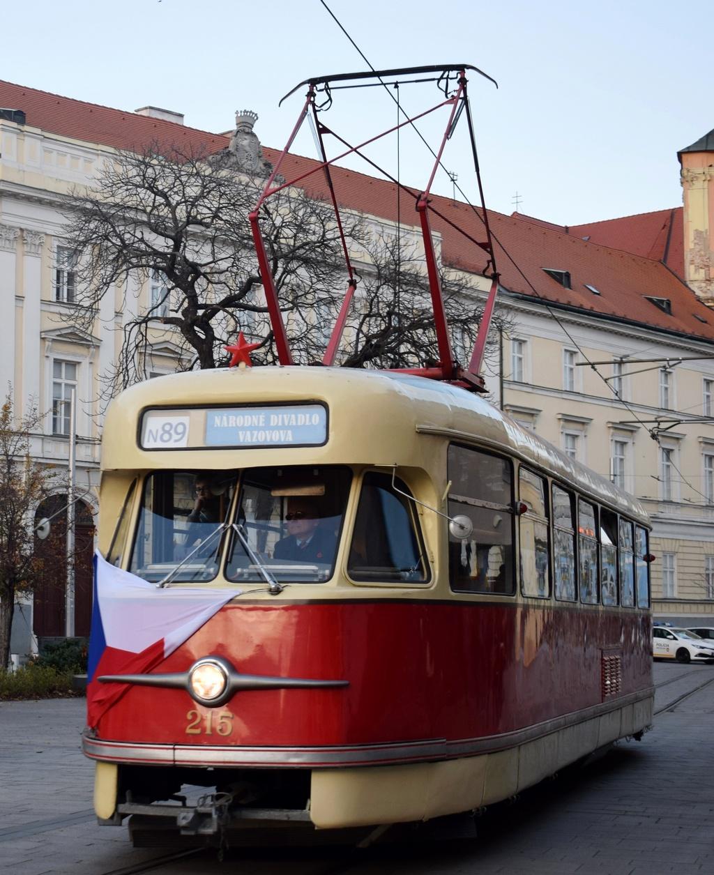 ČKD Tatra T2 #215 na Kapucínskej ulici.