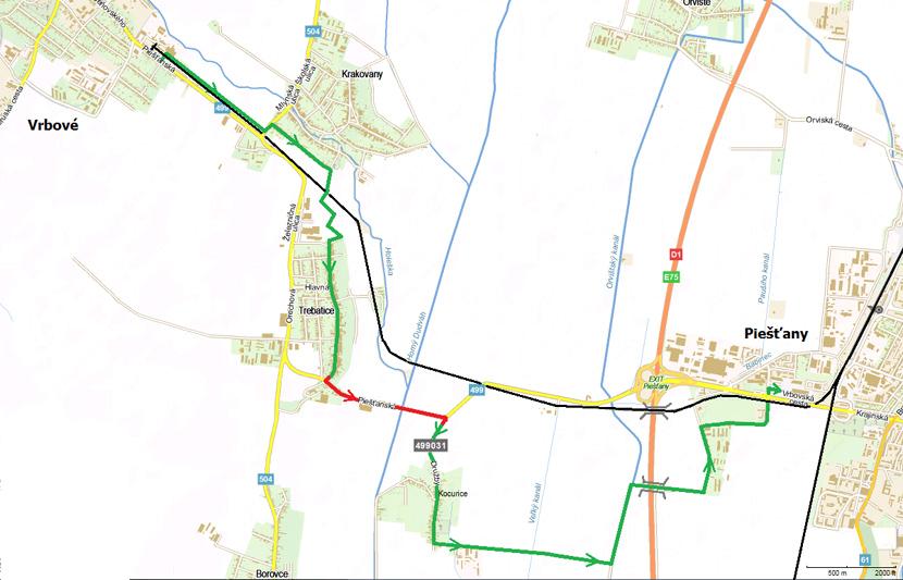 Alternatívne vedenie cyklotray; zdroj: Railtrains.sk